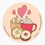 Jag älskar kaffe och donuts vektor illustrationer