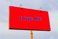 Jag älskar mig, den på engelska inskriften Arkivbild