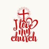 Jag älskar min kyrka bokstäver royaltyfri illustrationer