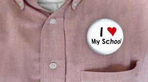 Jag älskar min skolaknapp Pin Shirt Education Teacher Student Arkivbild