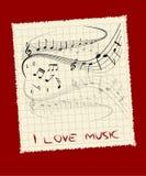 jag älskar musik Royaltyfri Illustrationer