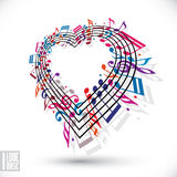 Jag älskar musikbegrepp Hjärta som göras med musikaliska anmärkningar och klaven vektor illustrationer