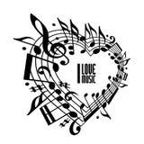 Jag älskar musikbegreppet, svartvit design Arkivbild
