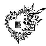Jag älskar musikbegreppet, svartvit design Royaltyfri Fotografi