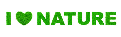 Jag älskar naturen som är skriftlig med gräs Fotografering för Bildbyråer