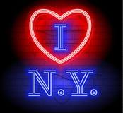 Jag älskar NY-bokstaven för design och garnering Illustration för neonstiltecken New York med hjärtalogo Illustration för t-skjor stock illustrationer