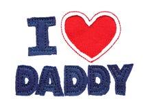 Jag älskar pappa som isoleras på white Arkivfoton