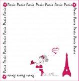 Jag älskar Paris. kort Arkivbild