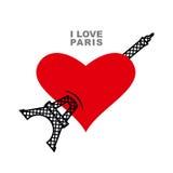 jag älskar paris Rött hjärtasymbol av förälskelse och Eiffeltorn Royaltyfri Foto