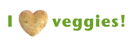 Jag älskar potatis för potatis för veggies (för hjärta) hjärta formad Royaltyfri Foto