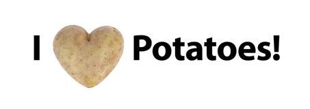 Jag älskar potatisar (för hjärta) Royaltyfria Bilder