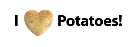 Jag älskar potatistext (för hjärta) Royaltyfri Bild