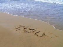 jag älskar sanden dig Royaltyfri Fotografi