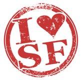 Jag älskar SF San Francisco Round Red Stamp Arkivfoton