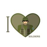 Jag älskar soldaten Militär man i form av en hjärta Vektor Illust Arkivbilder
