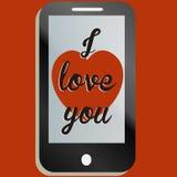 Jag älskar som dig, ringer mobilen meddelandet Fotografering för Bildbyråer