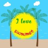 Jag älskar sommar, dekorativ bakgrund stock illustrationer
