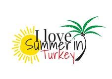 Jag älskar sommar i Turkiet som uttrycker design, väggdekaler, Art Decor, vektor illustrationer
