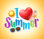 Jag älskar sommardesignbegrepp med lycklig hjärta stock illustrationer
