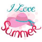 Jag älskar sommarvektorillustrationen Bokstäversammansättning och su Arkivbilder