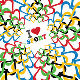 Jag älskar sporten och prydnaden av i olympiska färger Royaltyfria Bilder