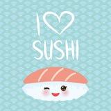 jag älskar sushi Kawaii rolig Maguro Toro sushi med rosa kinder och stora ögon, emoji Behandla som ett barn blå bakgrund med japa stock illustrationer