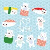 jag älskar sushi Kawaii rolig sushiuppsättning och vit gullig katt med rosa kinder och ögon, emoji Behandla som ett barn blå bakg royaltyfri illustrationer