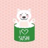jag älskar sushi Kawaii roliga sushirullar och vit gullig katt med rosa kinder, emoji Rosa bakgrund med den japanska cirkelmodell vektor illustrationer
