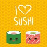 jag älskar sushi Kawaii ställde den roliga sushi in med rosa kinder och stora ögon, emoji orange gul bakgrund med den japanska ci vektor illustrationer