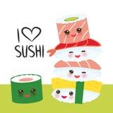 jag älskar sushi Kawaii ställde den roliga sushi in med rosa kinder och stora ögon, emoji som isolerades på vit bakgrund vektor stock illustrationer