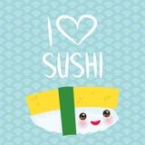 jag älskar sushi Sött ägg Kawaii för rolig Tamago sushi med rosa kinder och stora ögon, emoji Behandla som ett barn blå bakgrund  royaltyfri illustrationer