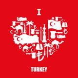 Jag älskar Turkiet Teckenhjärta av traditionella turkiska folk tecken Royaltyfria Bilder