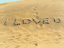 Jag älskar u in av öknen Arkivfoto