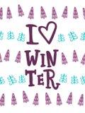 jag älskar vinter Hälsningkort med handbokstäver royaltyfri illustrationer