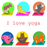 Jag älskar yoga, djur, sportar Royaltyfri Illustrationer