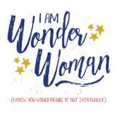 Jag är den mirakel- kvinnan, stock illustrationer