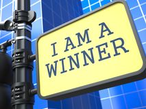 Jag är en vinnare - Roadsign. Royaltyfri Fotografi