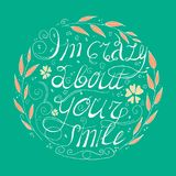 Jag är galen om ditt leende Cirkelblommauppsättning med sidor Royaltyfria Foton