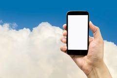 Jag är i molnet med min smartphone Fotografering för Bildbyråer