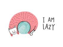 Jag är lat, katten på ett garnnystan Royaltyfria Bilder