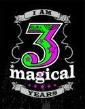 Jag är 3 magiska år arkivbilder