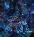 JAG ÄR meditationordmolnet vektor illustrationer