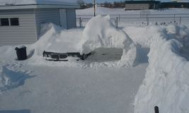 92 Jag buried in canada snow. Snow wall over six feet tall Stock Image