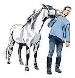 Jag gillar dig - ponnyn som kysser en ung man Arkivfoton