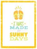 Jag gjordes för soliga dagar Gulligt sommarstrandcitationstecken med Flip Flops On Textured Background royaltyfri illustrationer
