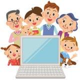 Jag håller ögonen på en PC i den tredje utvecklingen, familjer Arkivbilder