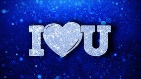 Jag hjärta dig blå text önskar partikelhälsningar, inbjudan, berömbakgrund