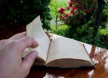 Jag läste en gammal bok i min trädgård Atmosfär av fred och tyst royaltyfria foton