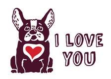 Jag älskar dig det röda hjärtakortet för den gulliga hunden Arkivfoton