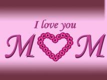 Jag älskar dig mammatextmoderns kortet för dag med tusenskönahjärta och lutningbakgrund Royaltyfri Fotografi